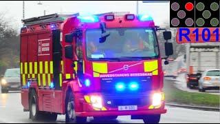 hovedstadens beredskab ST.C TRAFIKULYKKE brandbil i udrykning Feuerwehr auf Einsatzfahrt 緊急走行 消防車