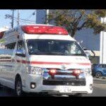 【緊急走行】救急車 衣浦東部広域連合消防局(fire truck,fire engine)と 交差点付近の片側通行工事現場を仕切る交通誘導員のナイスな誘導