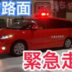 【緊急走行】凍結路面を滑走する消防車🚒