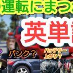 【英単語】車の運転にまつわる英単語 パンク?Eベタ?煽り運転は?車酔いは?