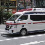 日産 NV350 CARAVAN東京医科歯科大学病院救急車。Ambulance of the Tokyo Medical and dental University Hospital.