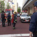 ダクトから炎が出た現場にパトカー・ハイパーレスキュー・はしご車・TEPCOなどが集結!衝撃的な可愛さだった消防団が緊急走行で現れる!