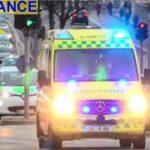 hovedstadens beredskab AMBULANCE A85 i udrykning rettungsdienst auf Einsatzfahrt 緊急走行 救急車