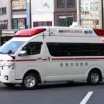 【救急車】長野駅前バスロータリーから緊急走行を開始する長野市消防局の救急車