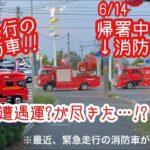 6/12【緊急走行】の消防車!3台目がやっと!6/14【帰署中】の変わった消防車!一瞬だけど…。前は消防車遭遇運良かったのになぁ><※最近緊急走行の消防車多いです><