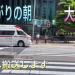 救急車 消防署 消防車 緊急 走行 雨上がりの朝 新宿 西新宿 医大