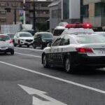 【岡山西警察署】マイクパフォーマンスとパッシングで迫力ある緊急走行 210系クラウンロイヤルパトカー