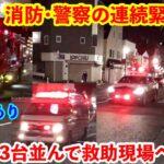 【レア緊急走行】消防・警察の連続緊急走行  3台並んで救助現場へ急行!