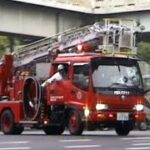 消防車緊急走行【199】堺市高石市消防組合 堺・梯子付きタンク車【Japanese fire enjine】