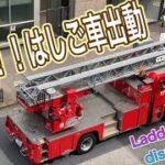 消防車 はしご車 レスキュー隊 【止まって!お待ちください】 緊急走行 緊急車両 Ladder car 救助隊