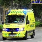 ambulance syd ESBJERG AMBULANCE 3598 i udrykning rettungsdienst auf Einsatzfahrt 緊急走行 救急車