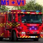 sydøstjyllands brandvæsen ST.HORSENS MARKBRAND brandbil i udrykning fire truck respond 緊急走行 消防車