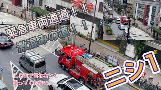 消防車 消防車出動 ニシ1 緊急車両 緊急出動 道を開けてください!渋滞中 方南通り通過