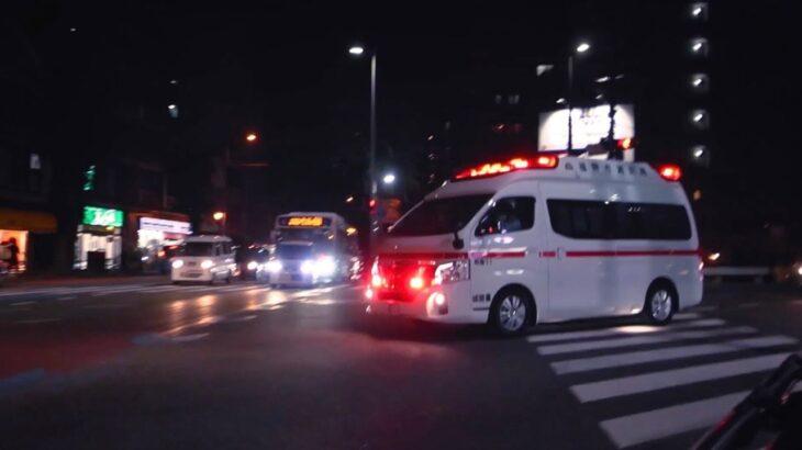 【緊急走行】福岡市消防局 救急車 3連