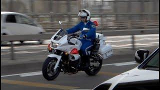 パトカー緊急走行【72】大阪府警・交通機動隊 白バイ取締り【Japanese Police car】