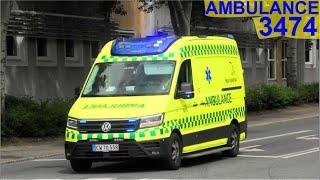 ambulance syd ESBJERG AMBULANCE 3474 i udrykning rettungsdienst auf Einsatzfahrt 緊急走行 救急車