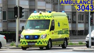 falck AMBULANCE 3043 fanget i ålborg i udrykning rettungsdienst auf Einsatzfahrt 緊急走行 救急車