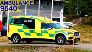 region halland KUNGSBACKA AMBULANS 9540 i utryckning rettungsdienst auf Einsatzfahrt 緊急走行 救急車