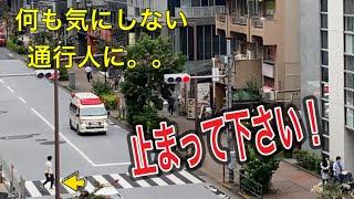 救急車 救急車が走行中 横断歩道を渡ろうとする通行人。止まって下さい!!ありがとうございます!ありがとうは素敵!