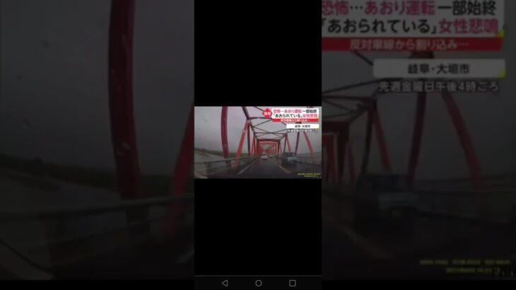 女性悲鳴!ゼブラゾーンを走っていた車のあおり運転映像