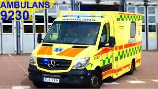 västra götalandregionen FRÖLUNDA AMBULANS 9230 i utryckning rettungsdienst auf Einsatzfahrt 緊急走行 救急車