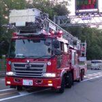 消防車緊急走行【228】堺市消防局 北・梯子車 室内救助【Japanese fire enjine】