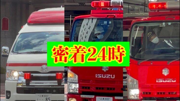 【密着24時】東京消防庁 城東消防署 消防車 救急車 緊急走行 出動