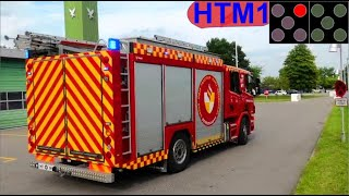 beredskab 4k falck ST.HT ILD I SKUR brandbil i udrykning Feuerwehr auf Einsatzfahrt 緊急走行 消防車