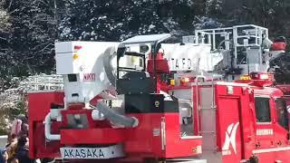 成田市消防出初式緊急走行!!救助工作車やはしご車、大型水槽車など続々緊急走行