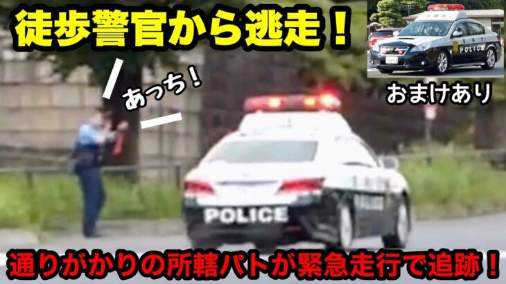 【徒歩警官から逃走!!】通りがかりの所轄パトが緊急走行で追跡!
