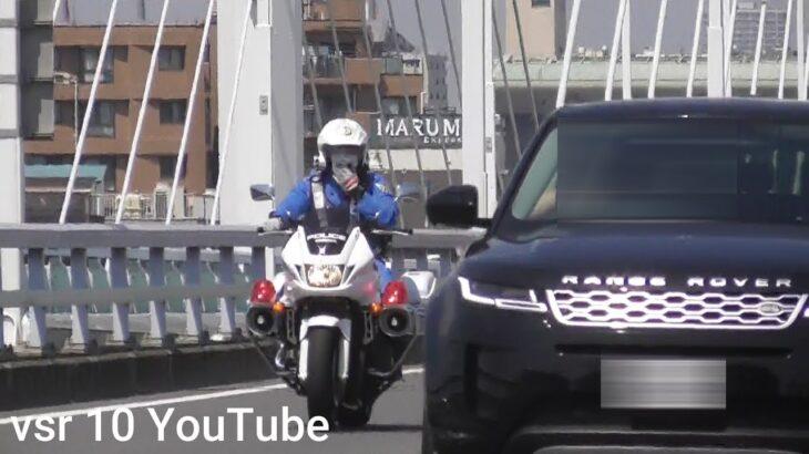 白バイスピード違反の車両を検挙